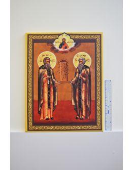 Картина икона преподобных Зосима и Савватия Соловецких 600х470мм
