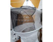 Маска пчеловода с вшитыми кольцами, 2 цвета сетки передняя чёрная, затылочная белая. Ткань бязь отбеленная. Состав: 100% хлопок.