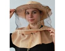 Маска пчеловода с вшитыми кольцами, 2 цвета сетки передняя чёрная, затылочная белая. Ткань габардин. Состав: 40% хлопок, 60 % полиэстер.