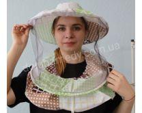 Маска пчеловода с вшитыми кольцами, 2 цвета сетки передняя чёрная, затылочная белая. Ткань бязь цветная. Состав: 100% хлопок.