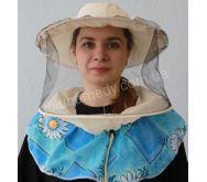 Маска пчеловода с вшитыми кольцами, 2 цвета сетки передняя чёрная, затылочная белая. Ткань бязь суровая. Состав: 100% хлопок.